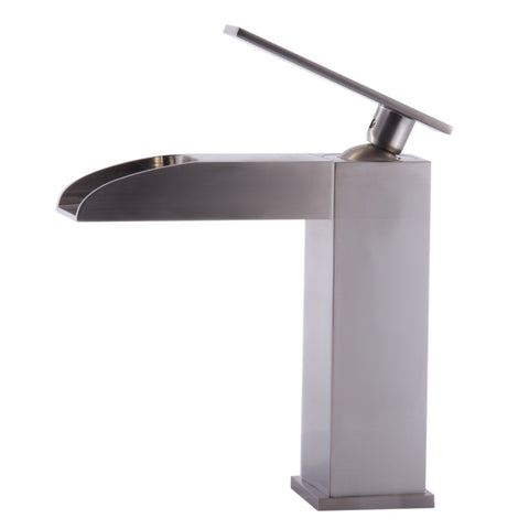 ALFI brand Brushed Nickel AB1598-BN Waterfall Bathroom Faucet-Waterfall Bathroom Faucets-Alfi-bedsville.com