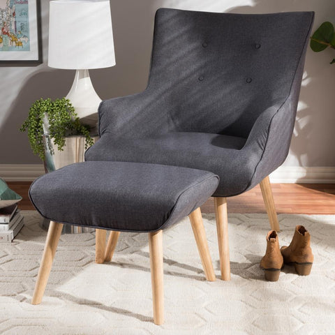 Baxton Studio Alden Mid-Century Modern Dark Grey Lounge Chair and Ottoman-Ottoman Sets-Baxton Studio-bedsville.com
