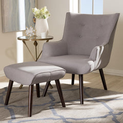 Baxton Studio Alden Mid-Century Modern Light Grey Lounge Chair and Ottoman-Ottoman Sets-Baxton Studio-bedsville.com
