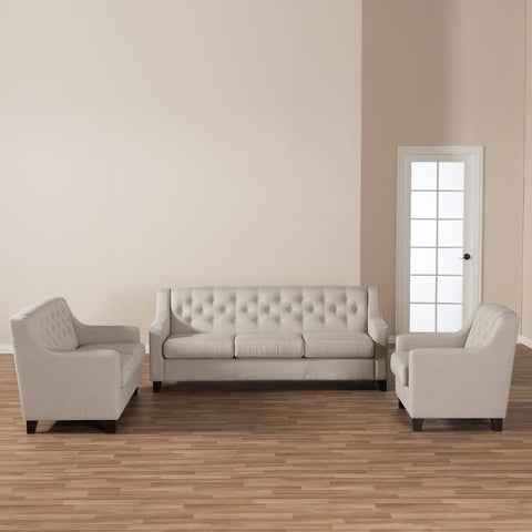 Baxton Studio Arcadia Light Beige 3-Piece Living Room Sofa Set-Living Room Sets-Baxton Studio-bedsville.com