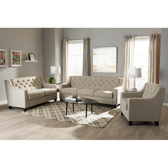 Image of Baxton Studio Arcadia Light Beige 3-Piece Living Room Sofa Set