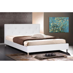 Baxton Studio Barbara BBT6140-White-Bed Queen Size Platform Bed