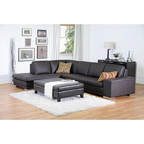 Baxton Studio Callidora Dark Brown Leather Sofa Sectional Reverse-Sofas-Baxton Studio-bedsville.com