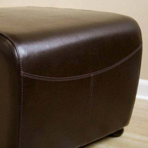 Baxton Studio Dark Brown Full Leather Ottoman With Rounded Sides-Ottomans-Baxton Studio-bedsville.com