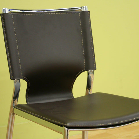 Baxton Studio Dark Brown Leather 2 Dining Chairs With Chrome Frame-Dining Chairs-Baxton Studio-bedsville.com