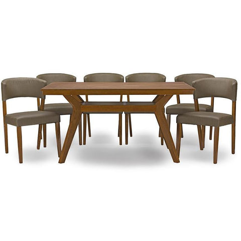 Baxton Studio Montreal Dark Walnut Wood 7pc Dining Set-Dining Table Sets-Baxton Studio-bedsville.com