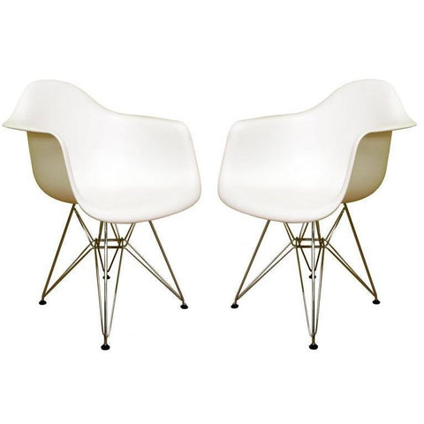 Baxton Studio Pascal White Plastic 2 Dining Chairs-Dining Chairs-Baxton Studio-bedsville.com