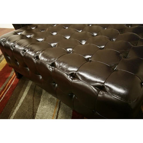 Baxton Studio Pemberly Dark Brown Bonded Leather Square Ottoman-Ottomans-Baxton Studio-bedsville.com