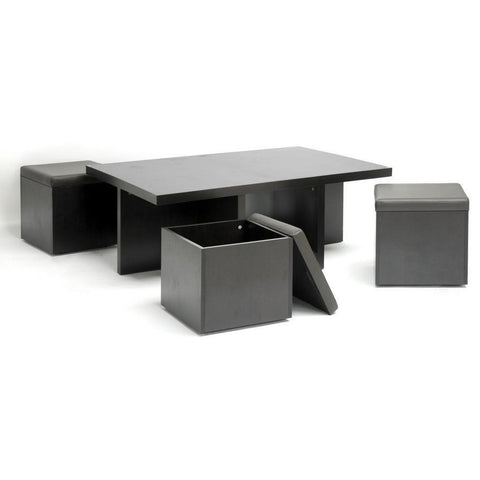 Baxton Studio Prescott Modern Table And Stool Set With Hidden Storage-Dining Tables-Baxton Studio-bedsville.com