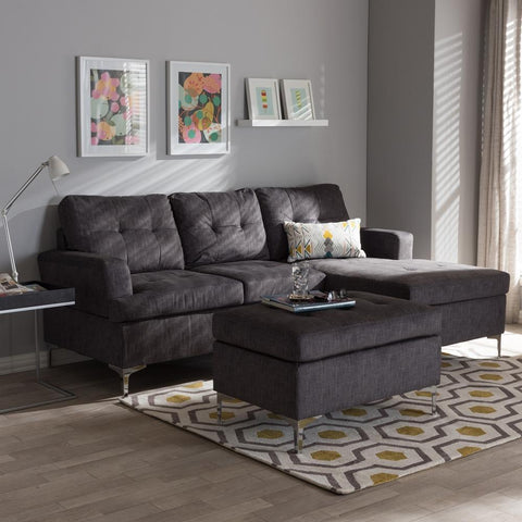 Baxton Studio Riley Upholstered Grey 3-Piece Sectional Sofa and Ottoman-Ottoman Sets-Baxton Studio-bedsville.com