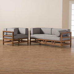 Baxton Studio Shaw Mid-Century Modern Grey & Walnut 2-Piece Living Room Set