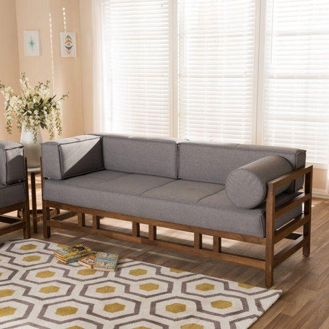 Baxton Studio Shaw Mid-Century Modern Grey & Walnut 2-Piece Living Room Set-Living Room Sets-Baxton Studio-bedsville.com