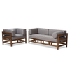 Image of Baxton Studio Shaw Mid-Century Modern Grey & Walnut 2-Piece Living Room Set-Living Room Sets-Baxton Studio-bedsville.com
