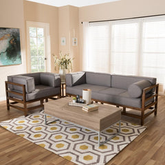 Image of Baxton Studio Shaw Mid-Century Modern Grey & Walnut 2-Piece Living Room Set
