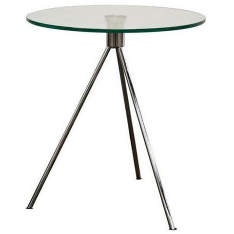 Baxton Studio Triplet Round Glass Top End Coffee Table With Tripod Base-Coffee Tables-Baxton Studio-bedsville.com