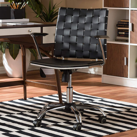 Baxton Studio Vittoria Black Leather Modern Office Chair-Office Chairs-Baxton Studio-bedsville.com