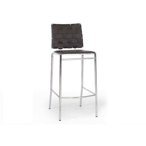 Baxton Studio Vittoria Brown Leather Modern 2 Bar Stools-Bar Stools-Baxton Studio-bedsville.com