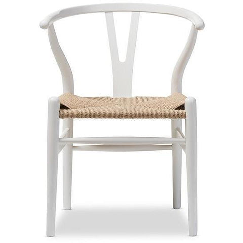 Baxton Studio Wishbone - 2 Ivory Wood Chairs-Accent Chairs-Baxton Studio-bedsville.com