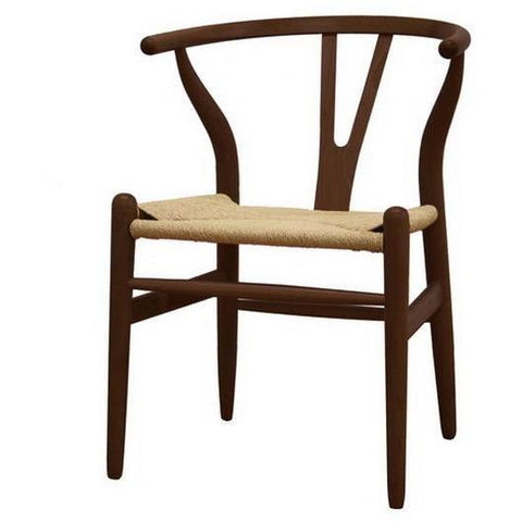 Baxton Studio Wishbone Chair - 2 Dark Brown Wood Chairs-Accent Chairs-Baxton Studio-bedsville.com