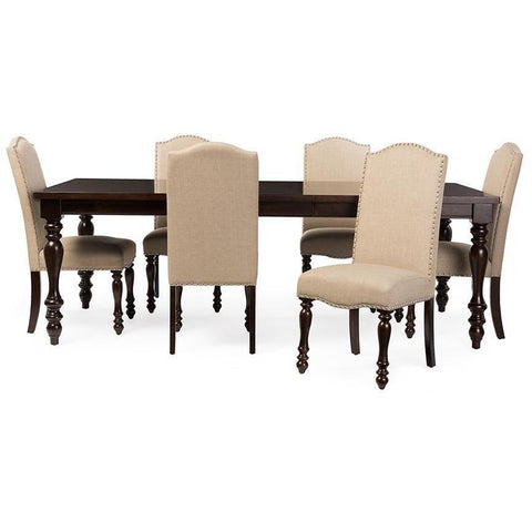 Baxton Studio Zachary Chic French Vintage Oak Brown 7 piece Dining Set-Dining Table Sets-Baxton Studio-bedsville.com
