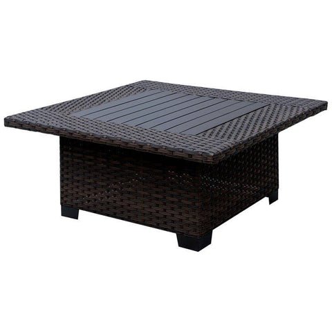 Furniture Of America Catalo Patio Wicker IDF-OS1840BR-SQ Coffee Table-Patio Coffee Tables-Furniture Of America-Brown-bedsville.com