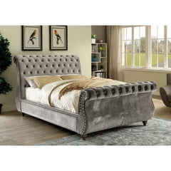 Furniture Of America Shirley IDF-7128GY Sleigh Bed In Gray-Platform Beds-Furniture Of America-California King-bedsville.com