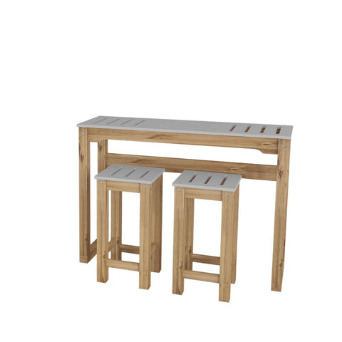 "Manhattan Comfort 3-Piece Stillwell 47.3"" Bar Dining Set-Bar Table Sets-Manhattan Comfort-GRAY AND NATURAL WOOD-bedsville.com"