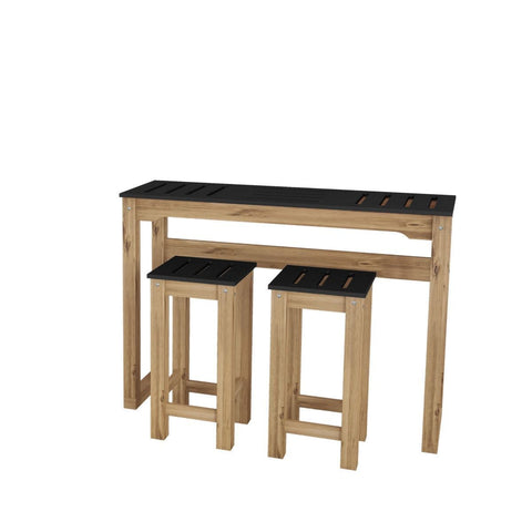 "Manhattan Comfort 3-Piece Stillwell 47.3"" Bar Dining Set-Bar Table Sets-Manhattan Comfort-BLACK AND NATURAL WOOD-bedsville.com"