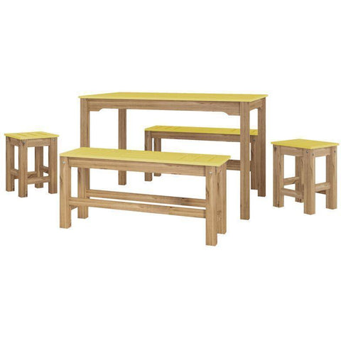 Manhattan Comfort 5-Piece Stillwell Rectangle Dining Set-Bar Table Sets-Manhattan Comfort-YELLOW AND NATURAL WOOD-bedsville.com