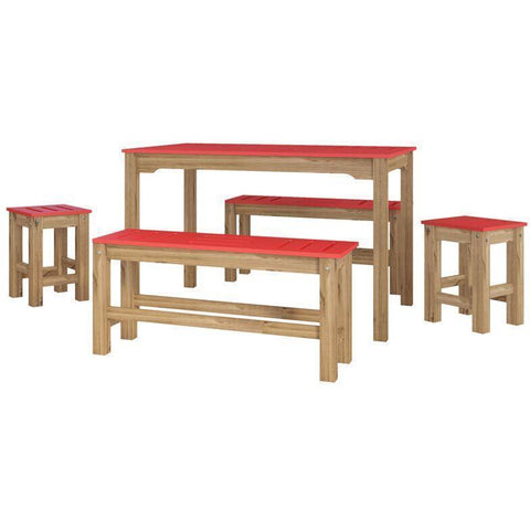 Manhattan Comfort 5-Piece Stillwell Rectangle Dining Set-Bar Table Sets-Manhattan Comfort-RED AND NATURAL WOOD-bedsville.com
