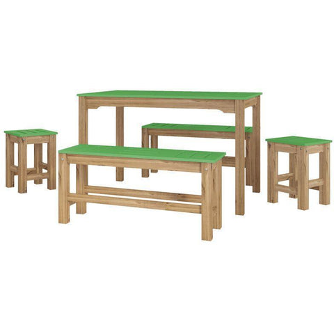 Manhattan Comfort 5-Piece Stillwell Rectangle Dining Set-Bar Table Sets-Manhattan Comfort-GREEN AND NATURAL WOOD-bedsville.com
