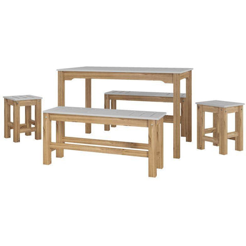 Manhattan Comfort 5-Piece Stillwell Rectangle Dining Set-Bar Table Sets-Manhattan Comfort-GRAY AND NATURAL WOOD-bedsville.com