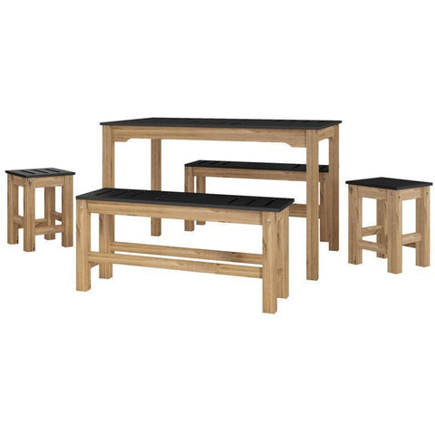Manhattan Comfort 5-Piece Stillwell Rectangle Dining Set-Bar Table Sets-Manhattan Comfort-BLACK AND NATURAL WOOD-bedsville.com