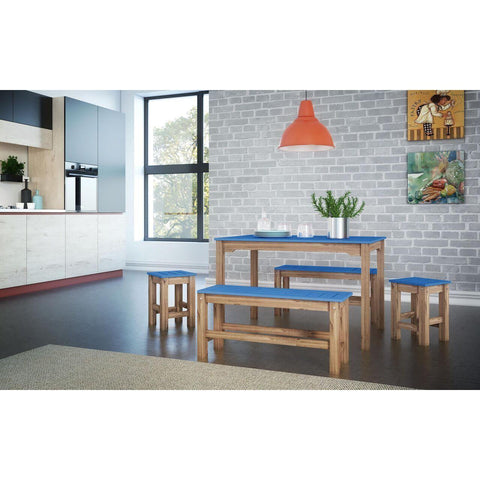 Manhattan Comfort 5-Piece Stillwell Rectangle Dining Set-Bar Table Sets-Manhattan Comfort-BLUE AND NATURAL WOOD-bedsville.com