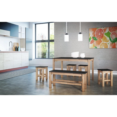 Manhattan Comfort 6-Piece Stillwell Rectangle Dining Set 1.0-Bar Table Sets-Manhattan Comfort-BLUE AND NATURAL WOOD-bedsville.com