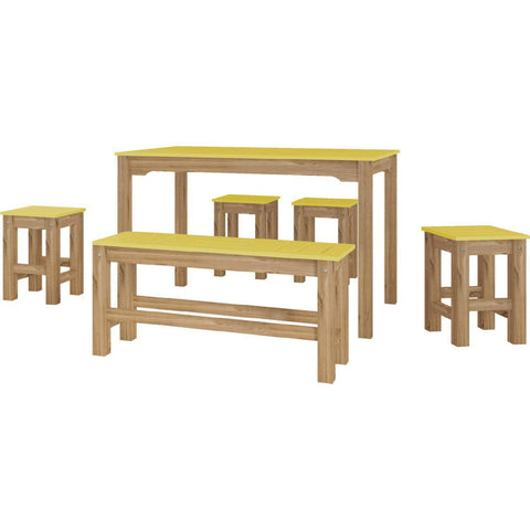 Manhattan Comfort 6-Piece Stillwell Rectangle Dining Set 1.0-Bar Table Sets-Manhattan Comfort-YELLOW AND NATURAL WOOD-bedsville.com