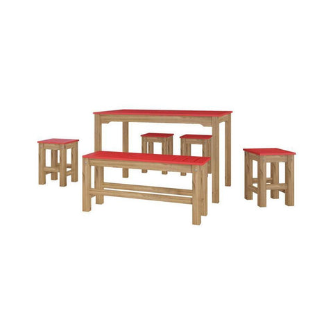 Manhattan Comfort 6-Piece Stillwell Rectangle Dining Set 1.0-Bar Table Sets-Manhattan Comfort-RED AND NATURAL WOOD-bedsville.com