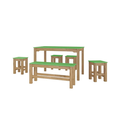 Manhattan Comfort 6-Piece Stillwell Rectangle Dining Set 1.0-Bar Table Sets-Manhattan Comfort-GREEN AND NATURAL WOOD-bedsville.com