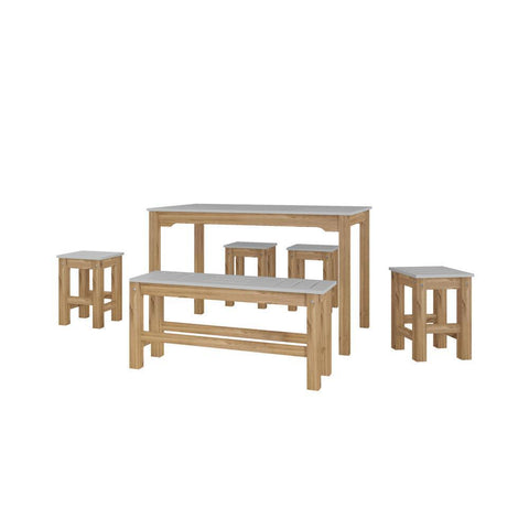 Manhattan Comfort 6-Piece Stillwell Rectangle Dining Set 1.0-Bar Table Sets-Manhattan Comfort-GRAY AND NATURAL WOOD-bedsville.com