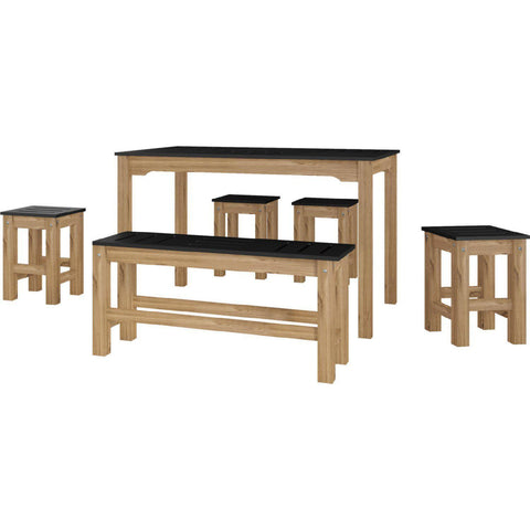 Manhattan Comfort 6-Piece Stillwell Rectangle Dining Set 1.0-Bar Table Sets-Manhattan Comfort-BLACK AND NATURAL WOOD-bedsville.com