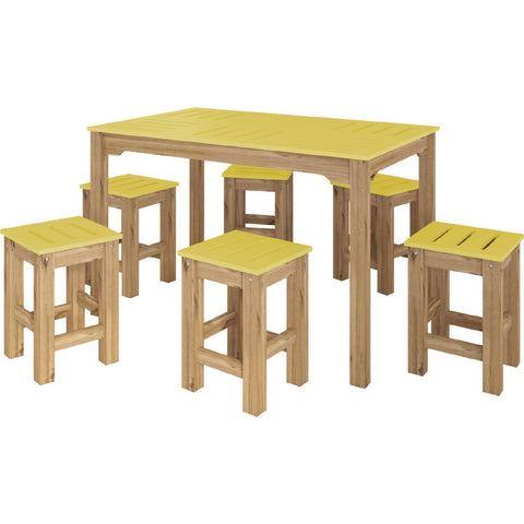 Manhattan Comfort 7-Piece Stillwell Rectangle Dining Set-Bar Table Sets-Manhattan Comfort-YELLOW AND NATURAL WOOD-bedsville.com