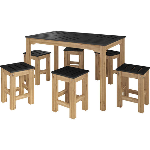Manhattan Comfort 7-Piece Stillwell Rectangle Dining Set-Bar Table Sets-Manhattan Comfort-BLACK AND NATURAL WOOD-bedsville.com