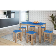 Manhattan Comfort 7-Piece Stillwell Rectangle Dining Set-Bar Table Sets-Manhattan Comfort-BLUE AND NATURAL WOOD-bedsville.com
