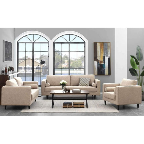 Manhattan Comfort Arthur Living Room Set in Tan-Brown Tweed-Living Room Sets-Manhattan Comfort-bedsville.com