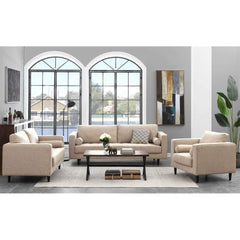 Image of Manhattan Comfort Arthur Living Room Set in Tan-Brown Tweed