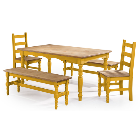 Manhattan Comfort Jay 5-Piece Solid Wood Dining Set with 2 Benches, 2 Chairs, and 1 Table-Dining Table Sets-Manhattan Comfort-BLUE WASH-bedsville.com