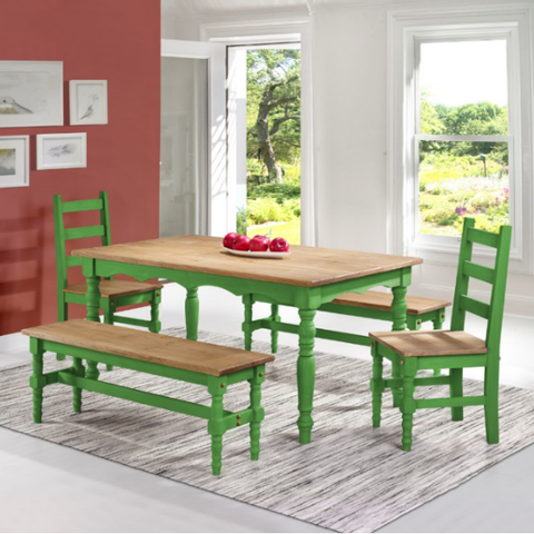 Manhattan Comfort Jay 5-Piece Solid Wood Dining Set with 2 Benches, 2 Chairs, and 1 Table-Dining Table Sets-Manhattan Comfort-GREEN WASH-bedsville.com