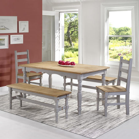Manhattan Comfort Jay 5-Piece Solid Wood Dining Set with 2 Benches, 2 Chairs, and 1 Table-Dining Table Sets-Manhattan Comfort-GREY WASH-bedsville.com