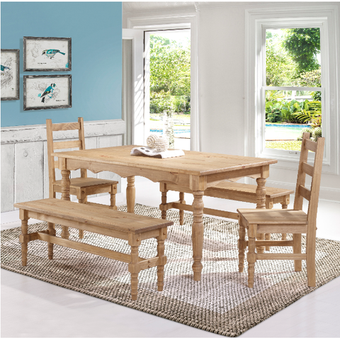 Manhattan Comfort Jay 5-Piece Solid Wood Dining Set with 2 Benches, 2 Chairs, and 1 Table-Dining Table Sets-Manhattan Comfort-NATURE-bedsville.com