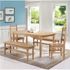 Image of Manhattan Comfort Jay 5-Piece Solid Wood Dining Set with 2 Benches, 2 Chairs, and 1 Table-Dining Table Sets-Manhattan Comfort-NATURE-bedsville.com